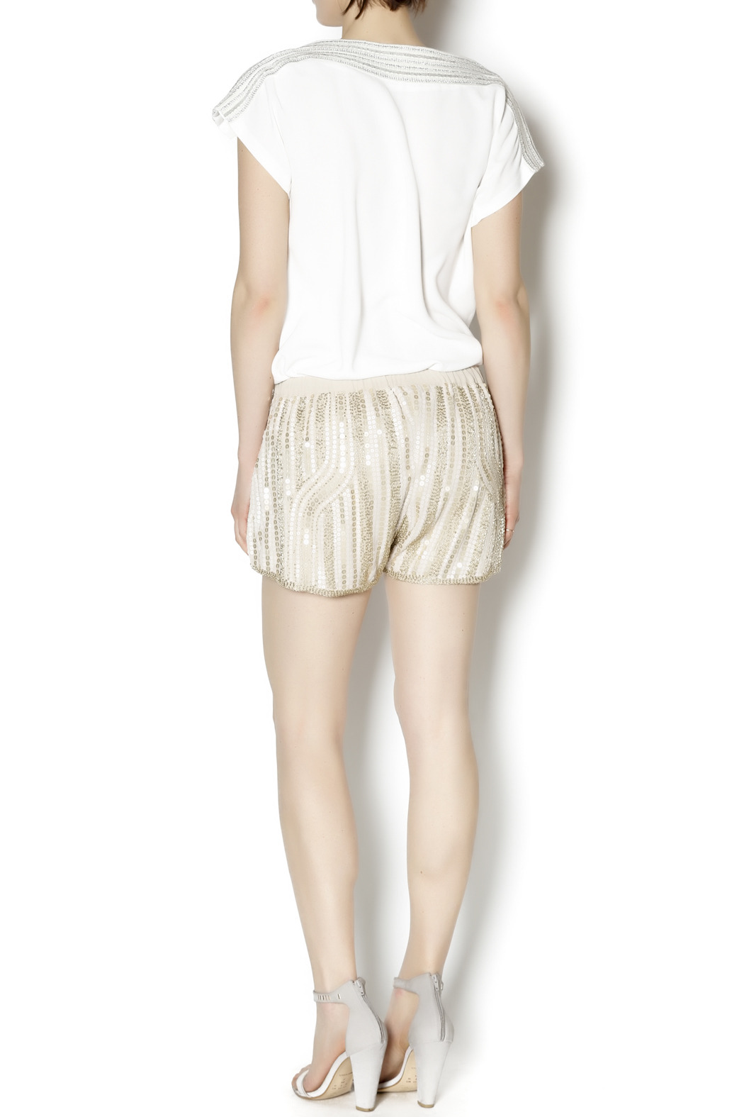 Wish Collection Sequin Track Shorts - Side Cropped Image