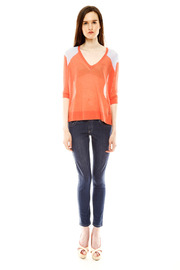 Autumn Cashmere Contrast Shoulder Detail Sweater - Front full body