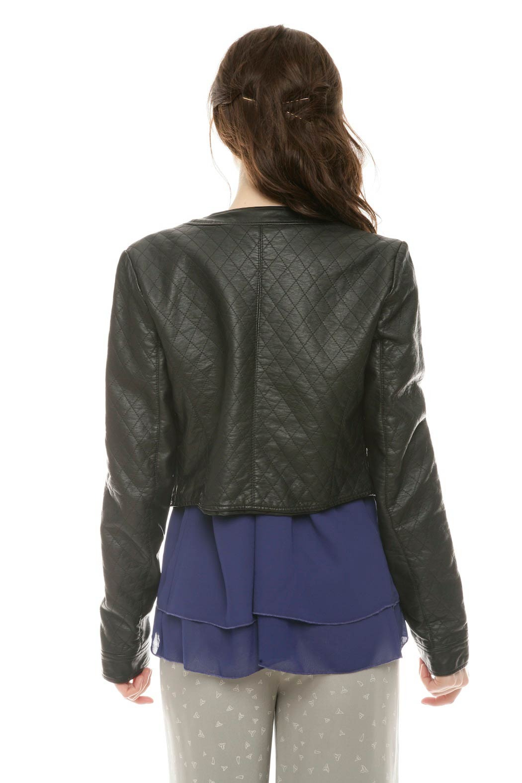 Members Only Cropped Moto Jacket - Back Cropped Image