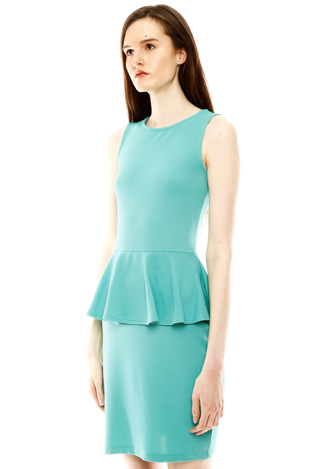 Isle Honeycomb Peplum Dress - Side Cropped Image