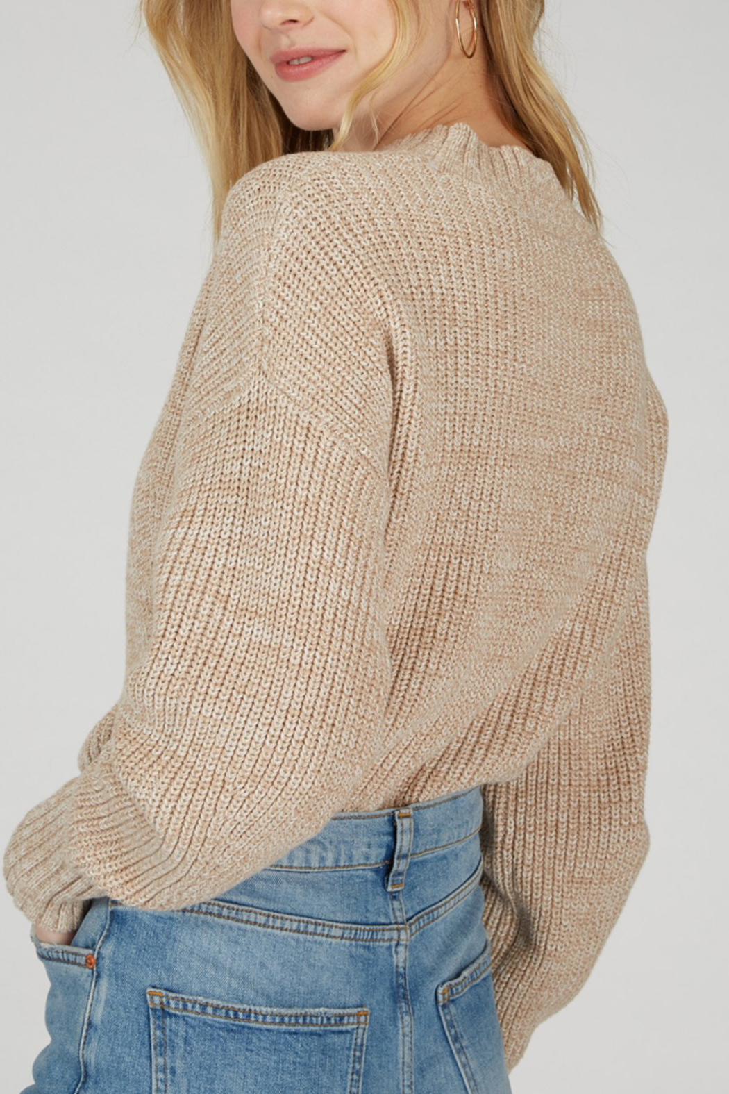 525 America 525 AMERICA COTTON CROPPED SWEATER - Back Cropped Image