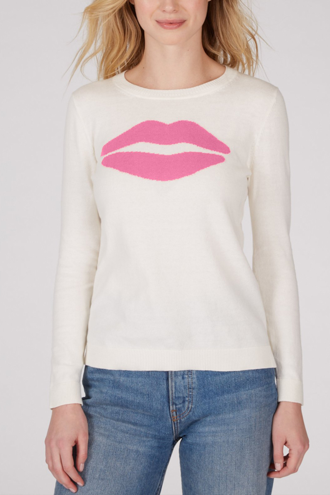 525 America 525 AMERICA COTTON JERSEY LIPS SWEATER - Front Cropped Image