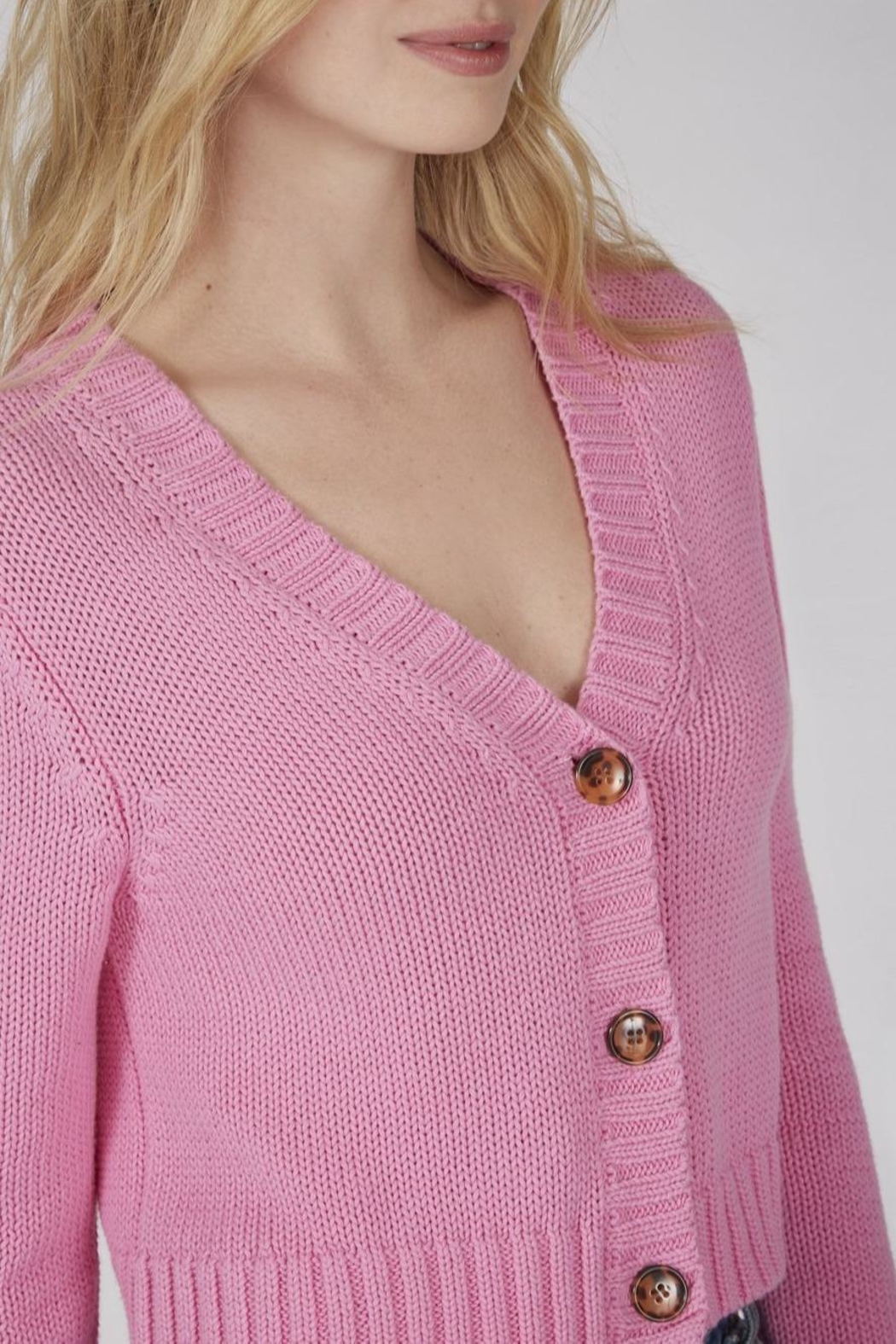 525 America Cropped Shaker Cardigan - Front Full Image
