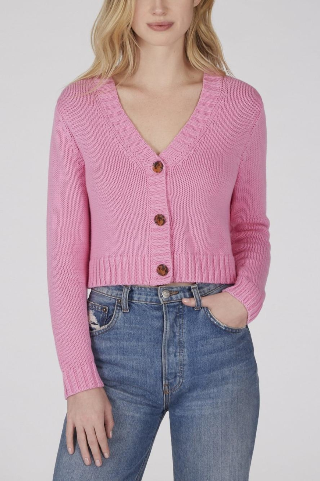 525 America Cropped Shaker Cardigan - Front Cropped Image
