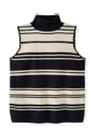 525 America Navy-Stripe-Sleeveless Mock Turtleneck - Product Mini Image