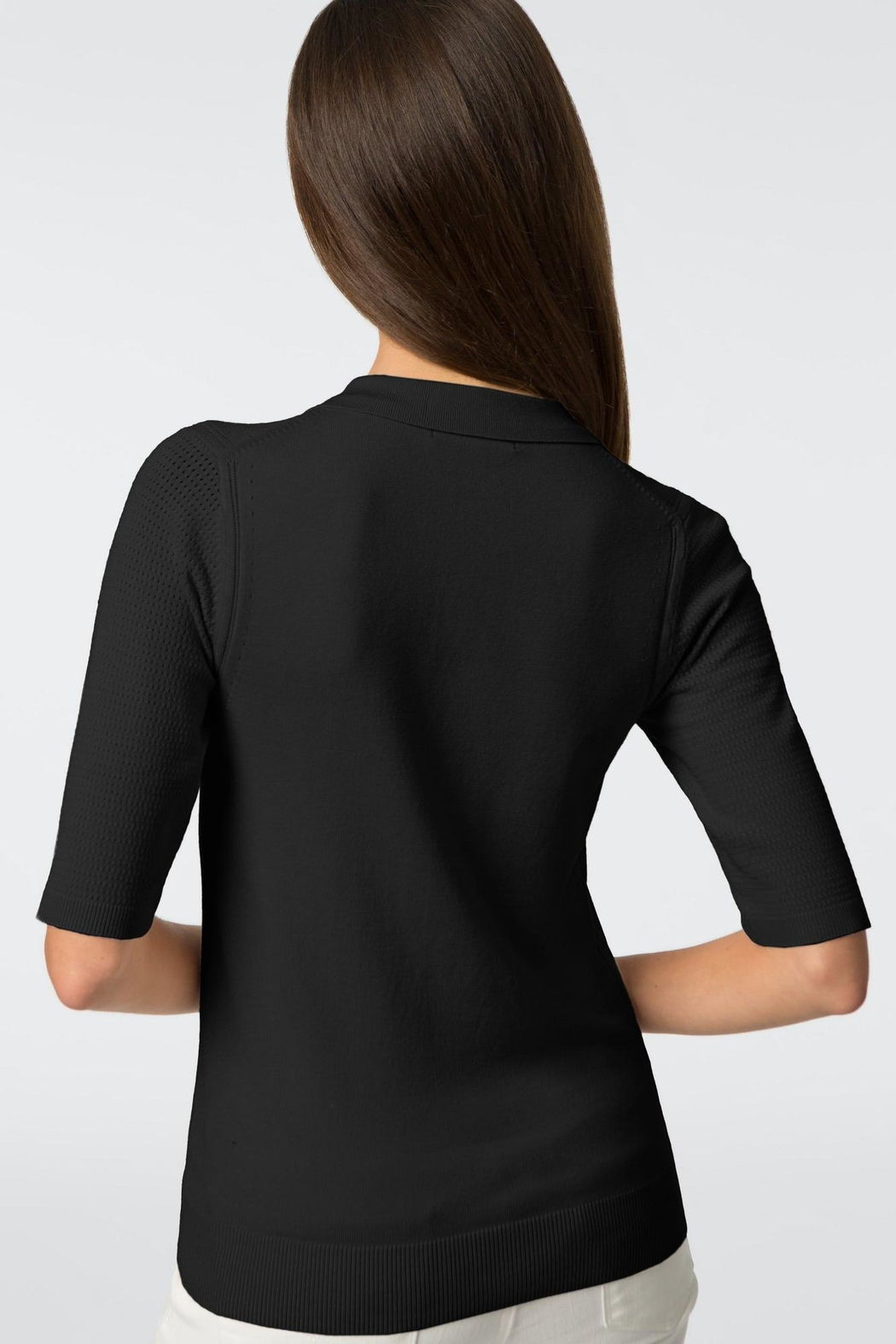 525 America Pointelle Sleeve Polo - Side Cropped Image