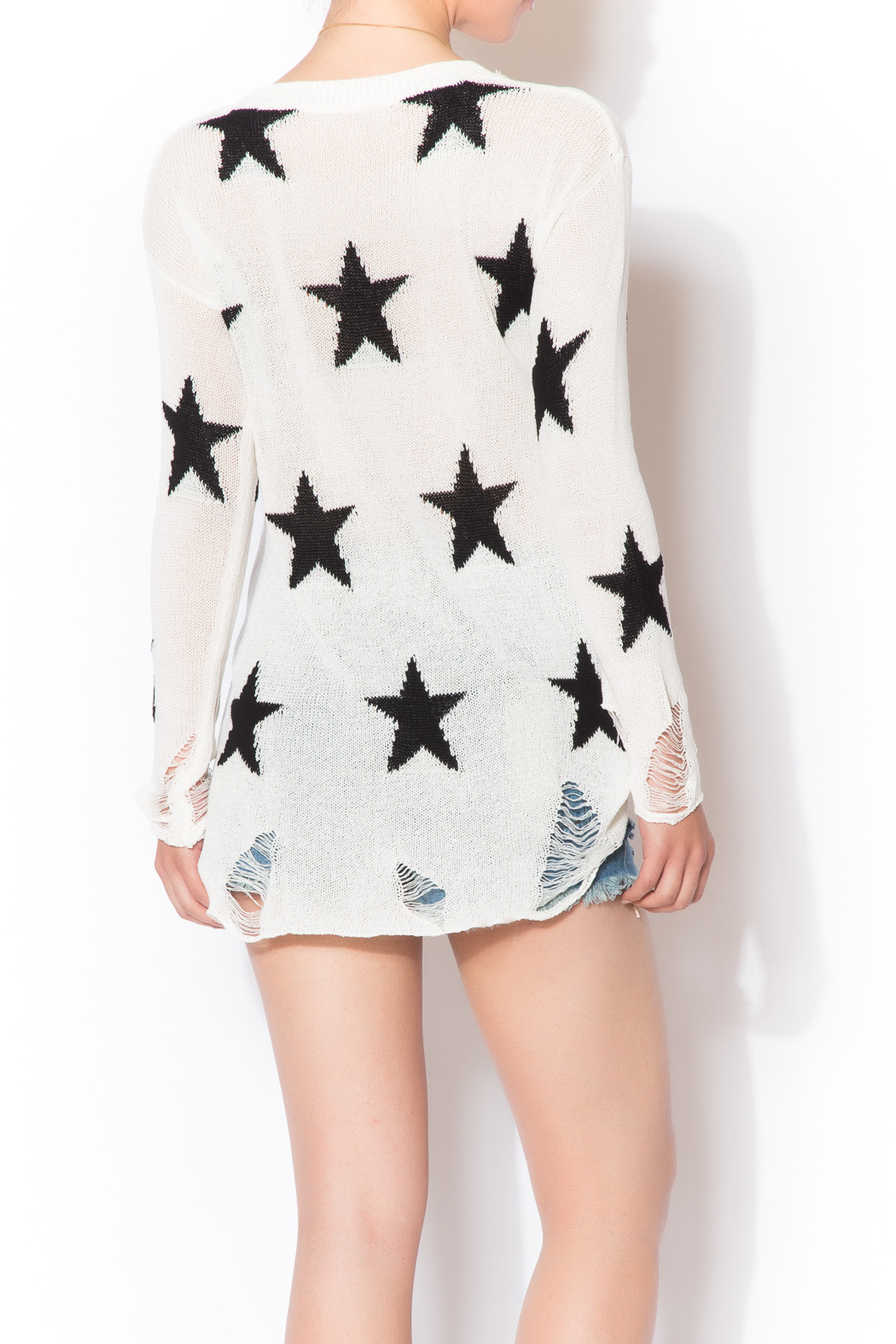 Star Shredded Sweater - Back Cropped Image