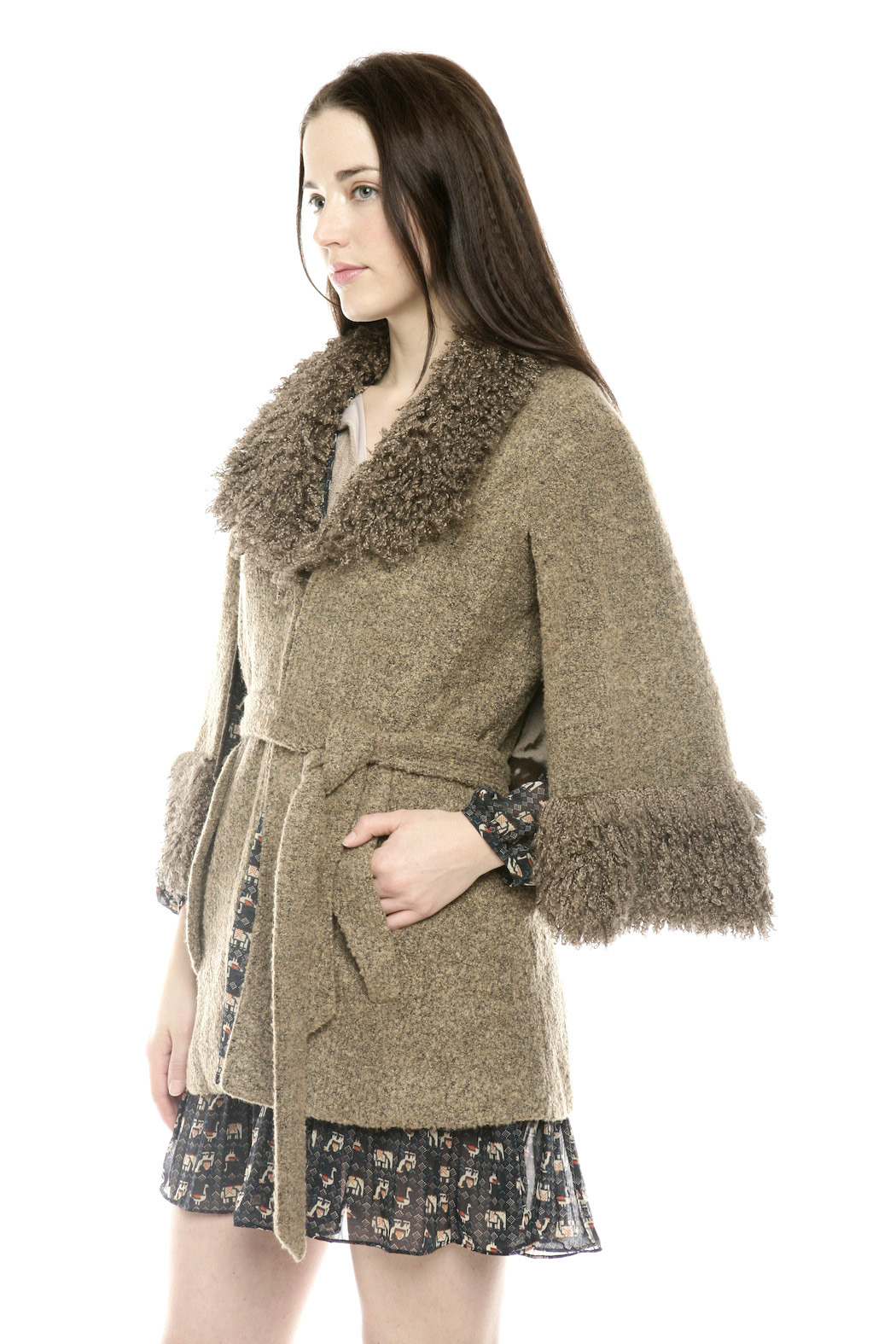 Ravel Furry Boucle Cape - Side Cropped Image