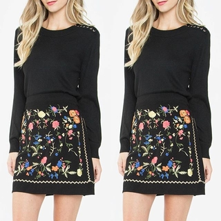 Unknown Factory Embroidered Mini Skirt - Instagram Image