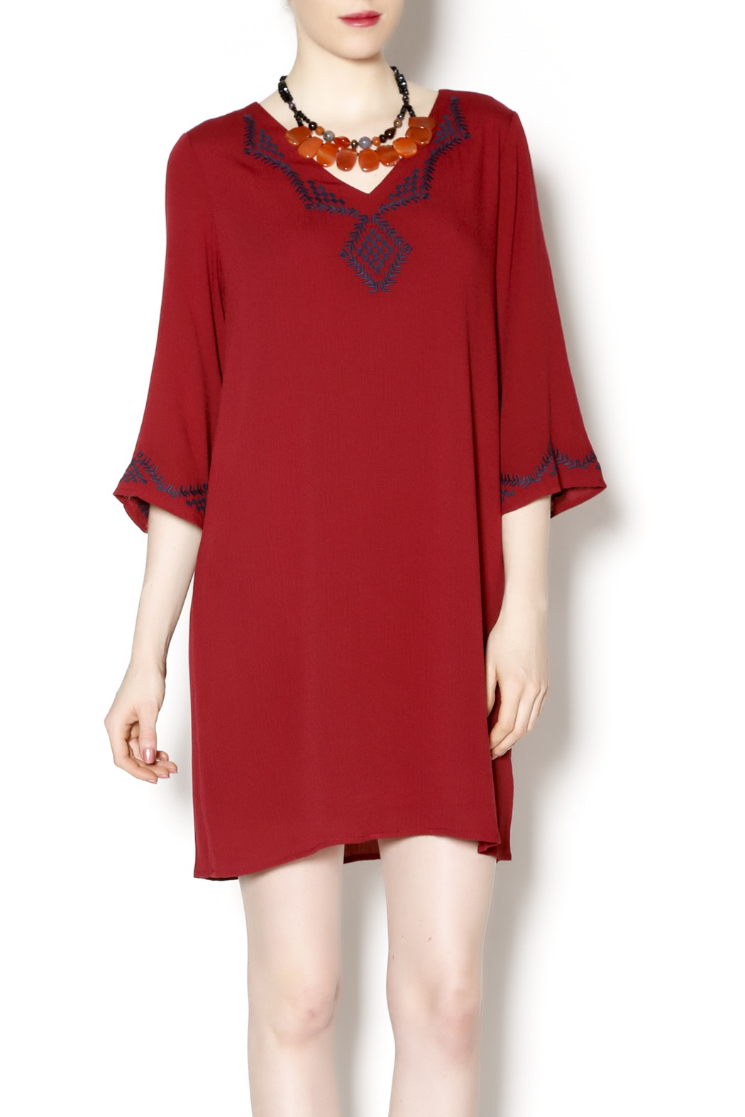 Final Touch Embroidered Red Gauze Dress - Main Image
