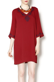 Final Touch Embroidered Red Gauze Dress - Product Mini Image