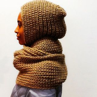 Shoptiques Tan Hooded Scarf