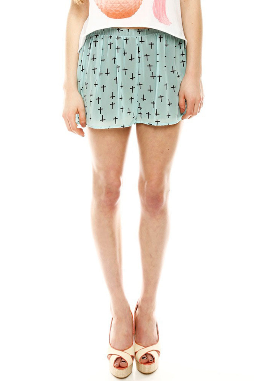 Audrey 3+1 Cross Print Shorts - Front Cropped Image