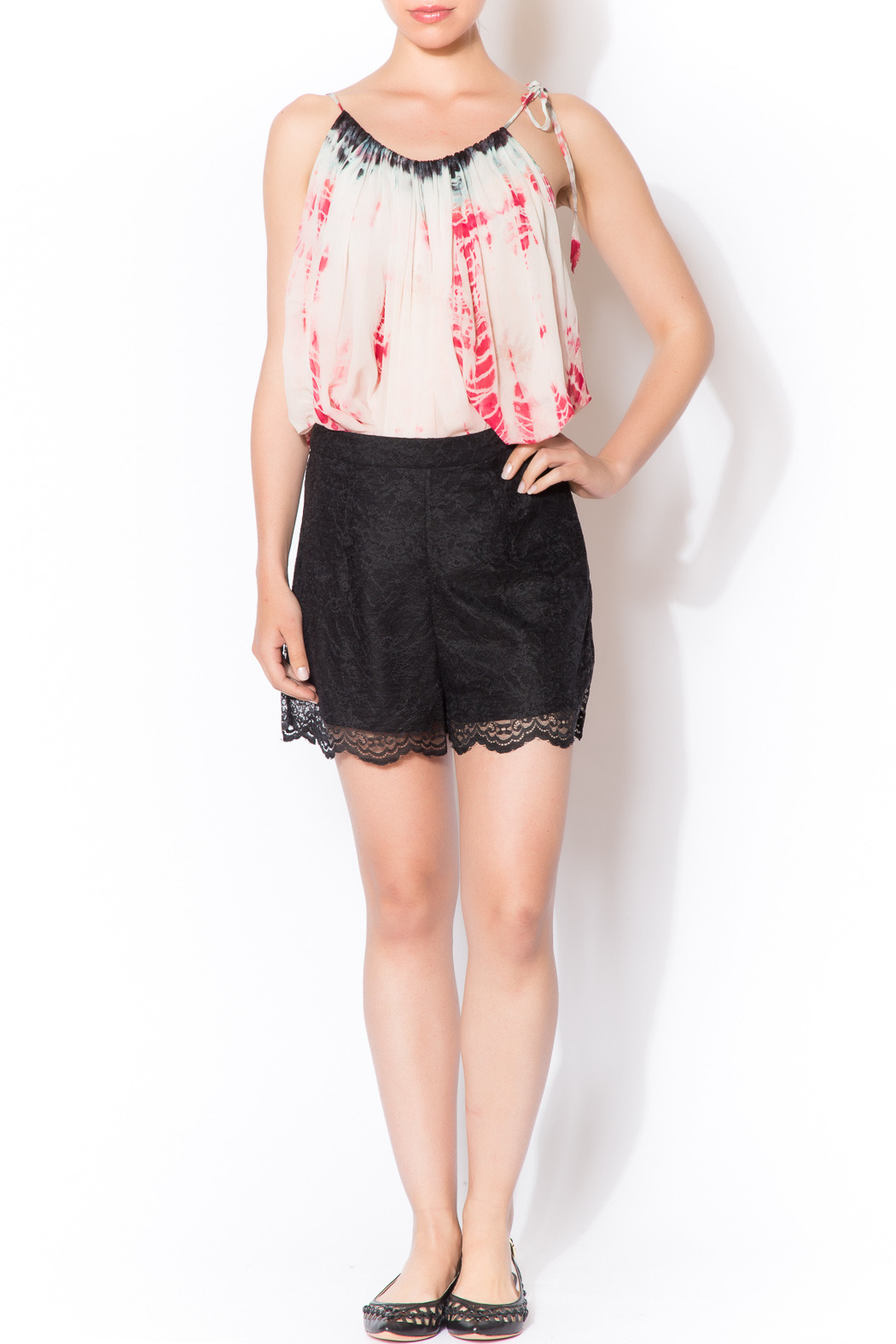 CCH Collection Lace Black Shorts - Front Full Image