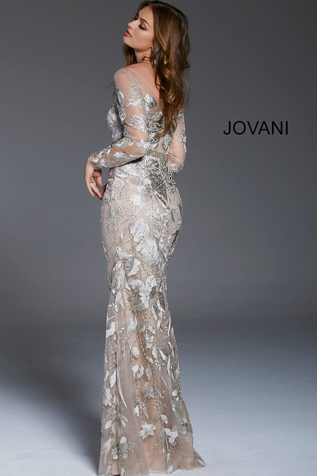 Jovani Illusion Long Sleeve Gown - Front Full Image