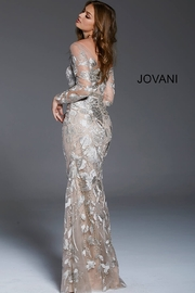 Jovani Illusion Long Sleeve Gown - Front full body