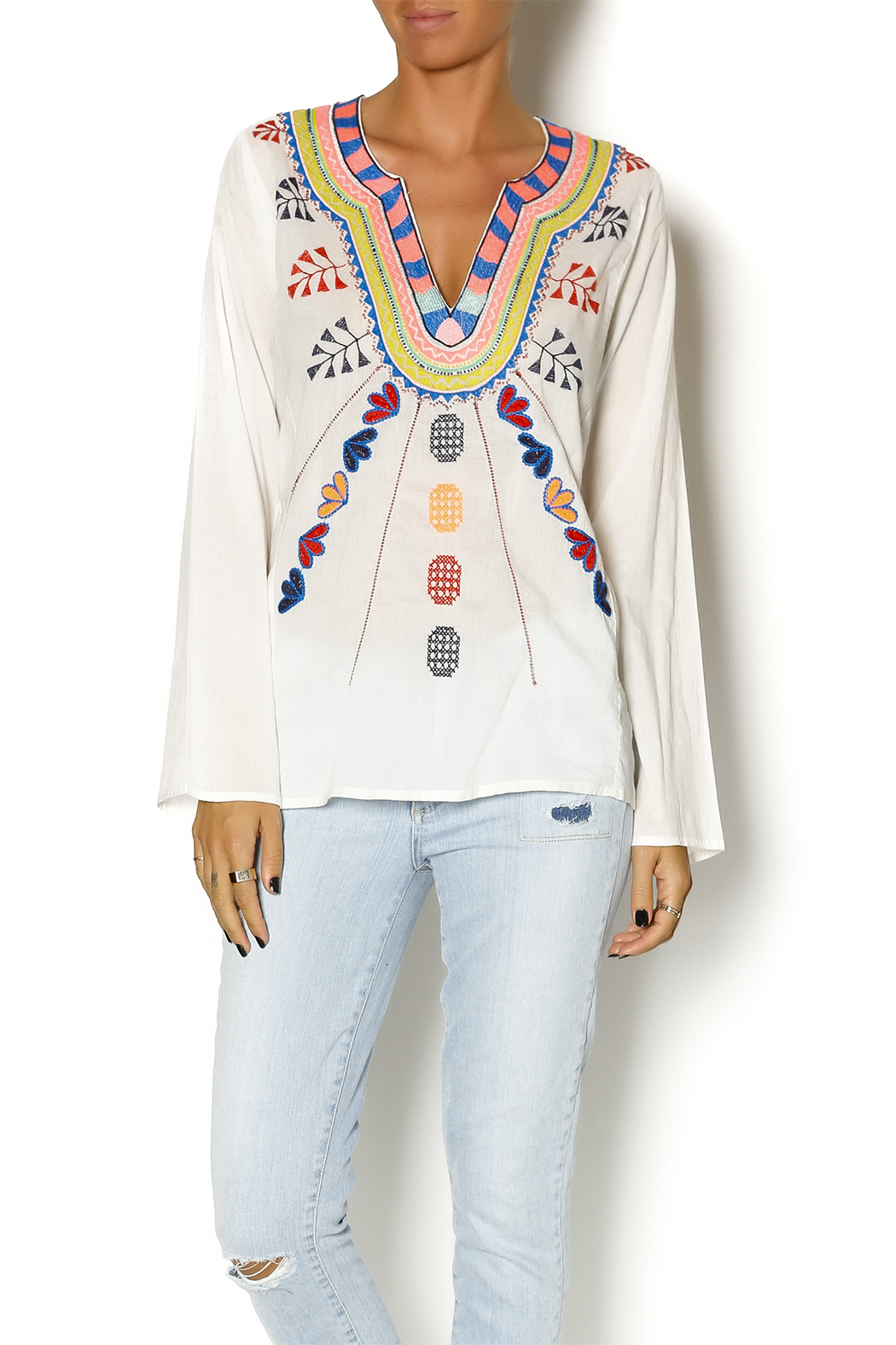 Christophe Sauvat Embroidered Ethnic Top - Front Cropped Image