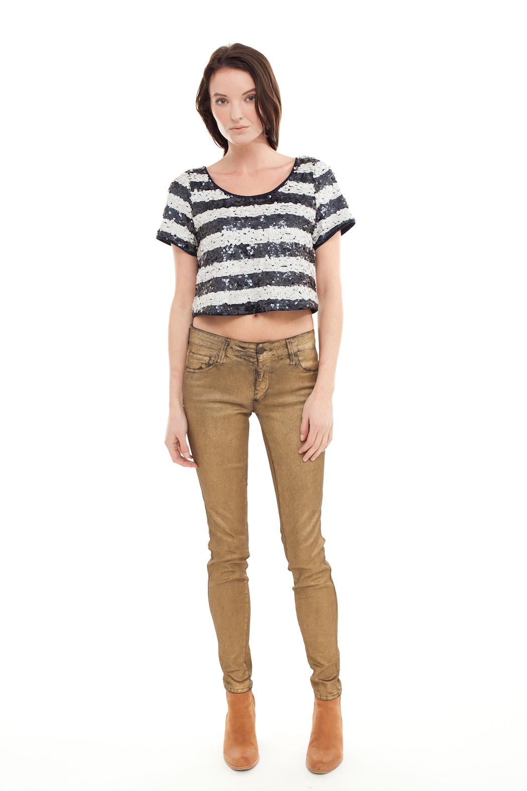 Ark & Co. Cropped Sequin Top - Front Full Image