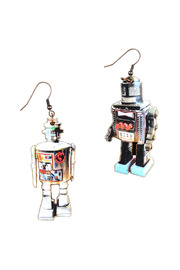 Shoptiques Product: Wooden Robot Earrings