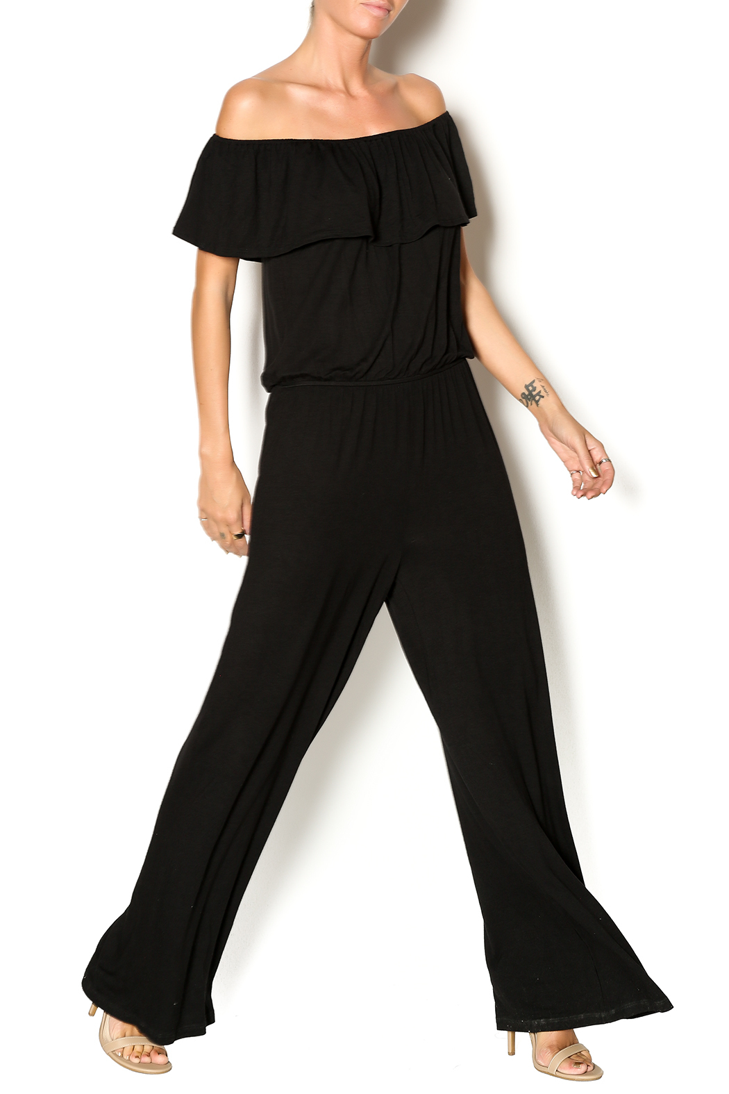 Chatoyant  Off Shoulder Jumsuit - Front Full Image