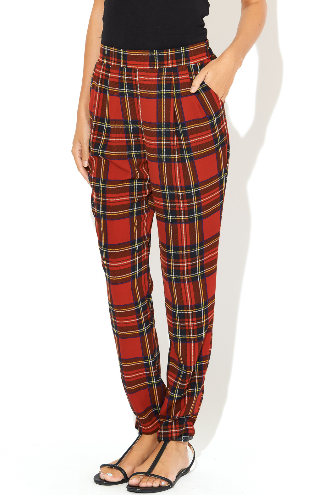 See You Monday Red Tartan Print Pants - Front Cropped Image