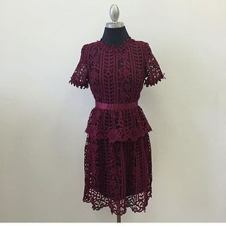 Shoptiques Merlot Lace Dress