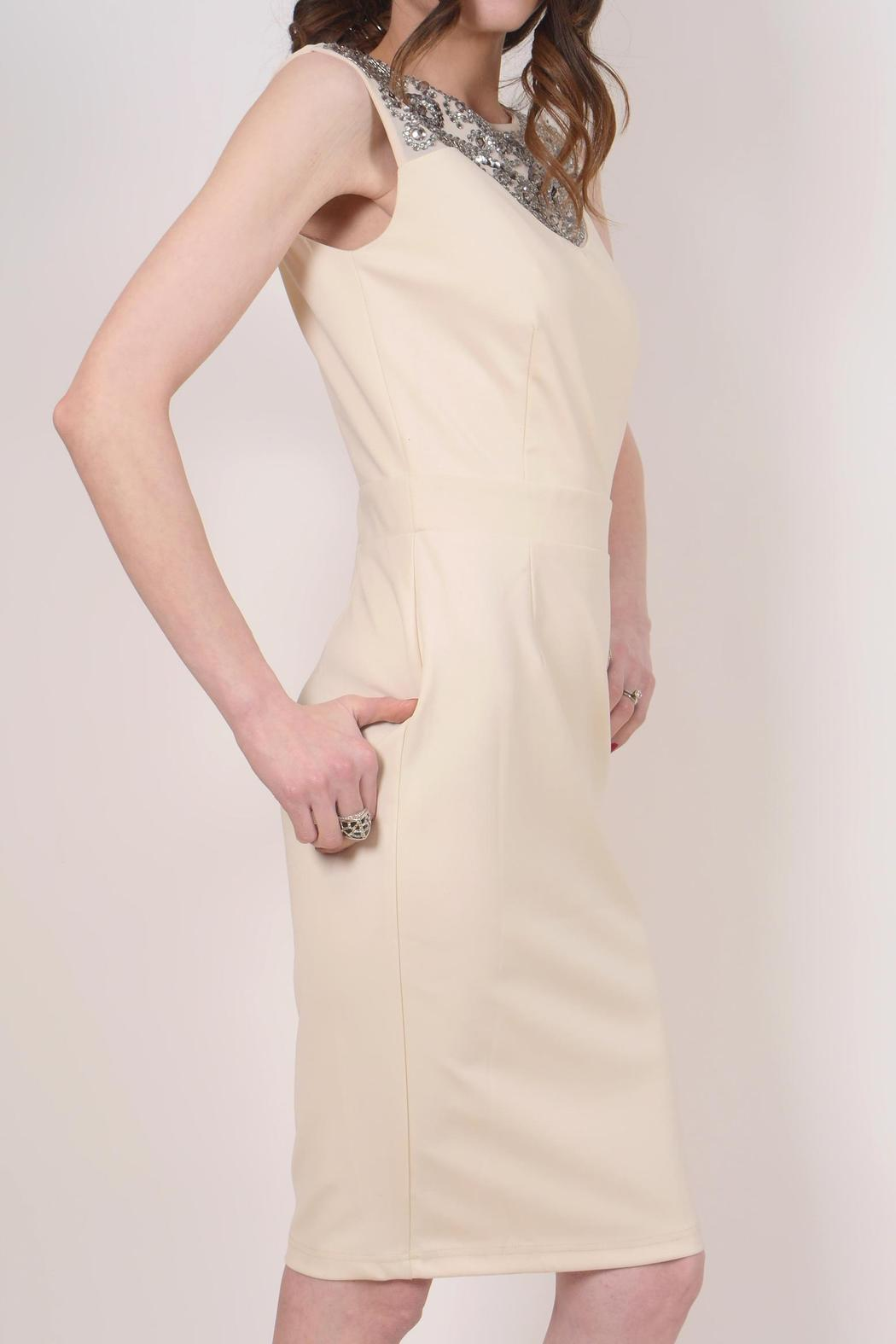 Little Mistress Cream Cocktail Dress - Side Cropped Image