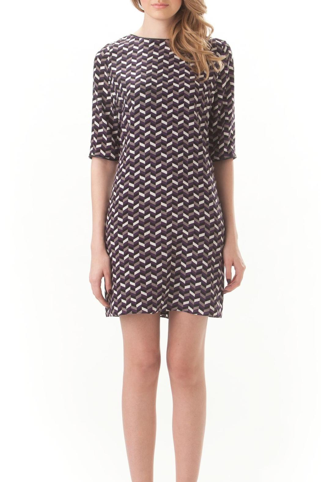 Leona Silk Chevron Dress - Front Full Image