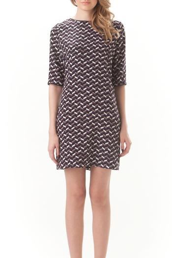 Leona Silk Chevron Dress - Main Image