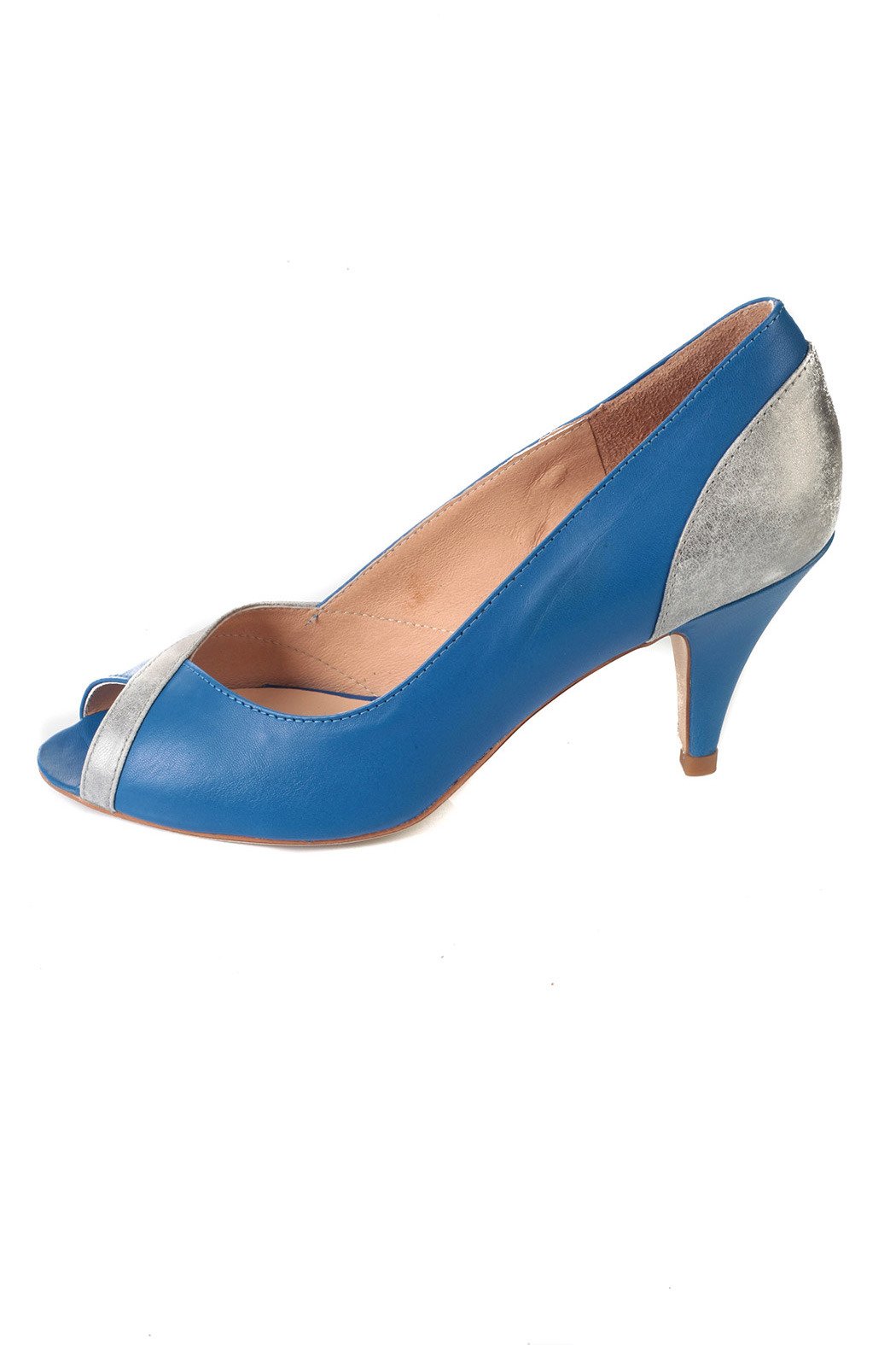 Petite Mendigote Blue and Silver Heels - Side Cropped Image