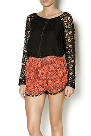 Double Zero Black Lace Sleeve Blouse - Front cropped