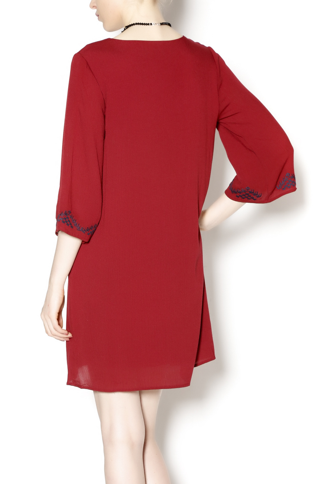 Final Touch Embroidered Red Gauze Dress - Back Cropped Image