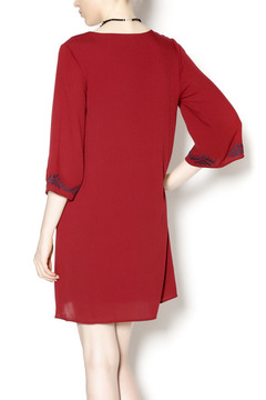 Shoptiques Product: Embroidered Red Gauze Dress