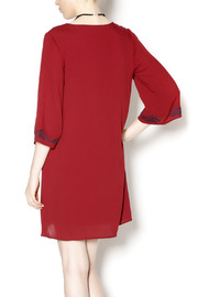 Final Touch Embroidered Red Gauze Dress - Back cropped