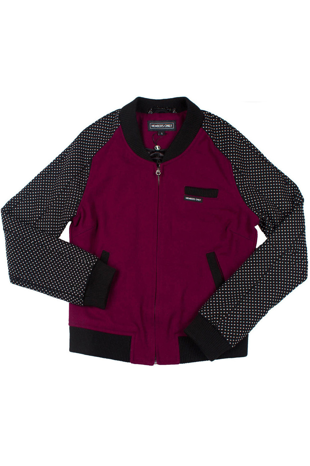 Members Only Studded Baseball Jacket - Front Cropped Image