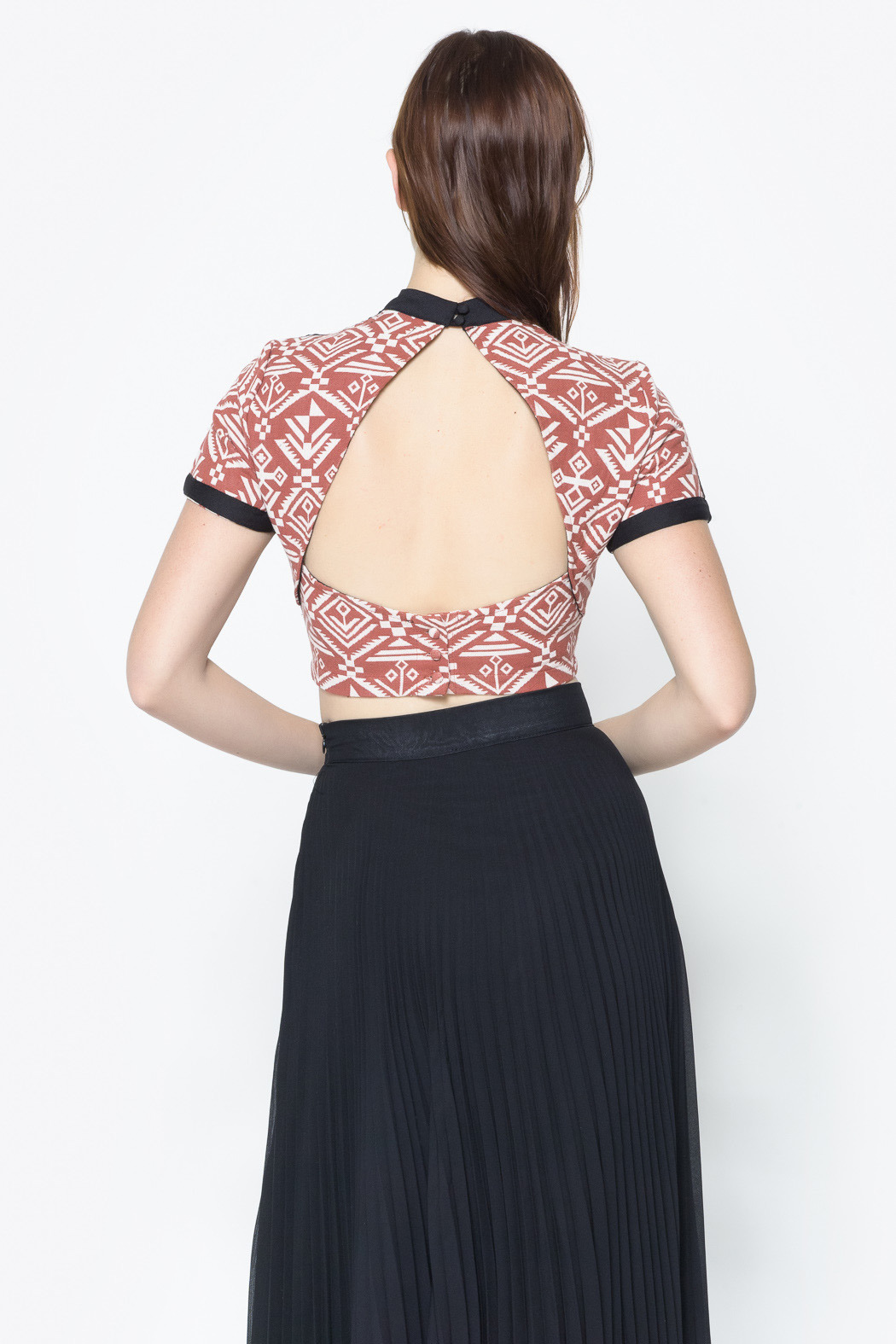 Nameless Aztec Print Crop Top - Back Cropped Image