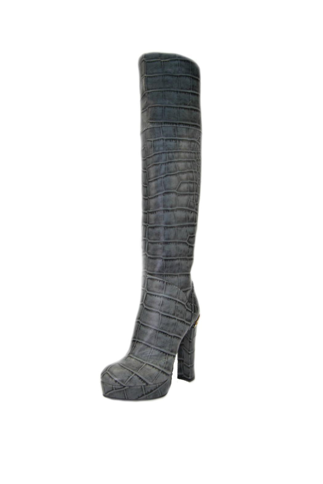 Baldan Luxury Shoes Crocodile-Embossed Leather Boot - Main Image