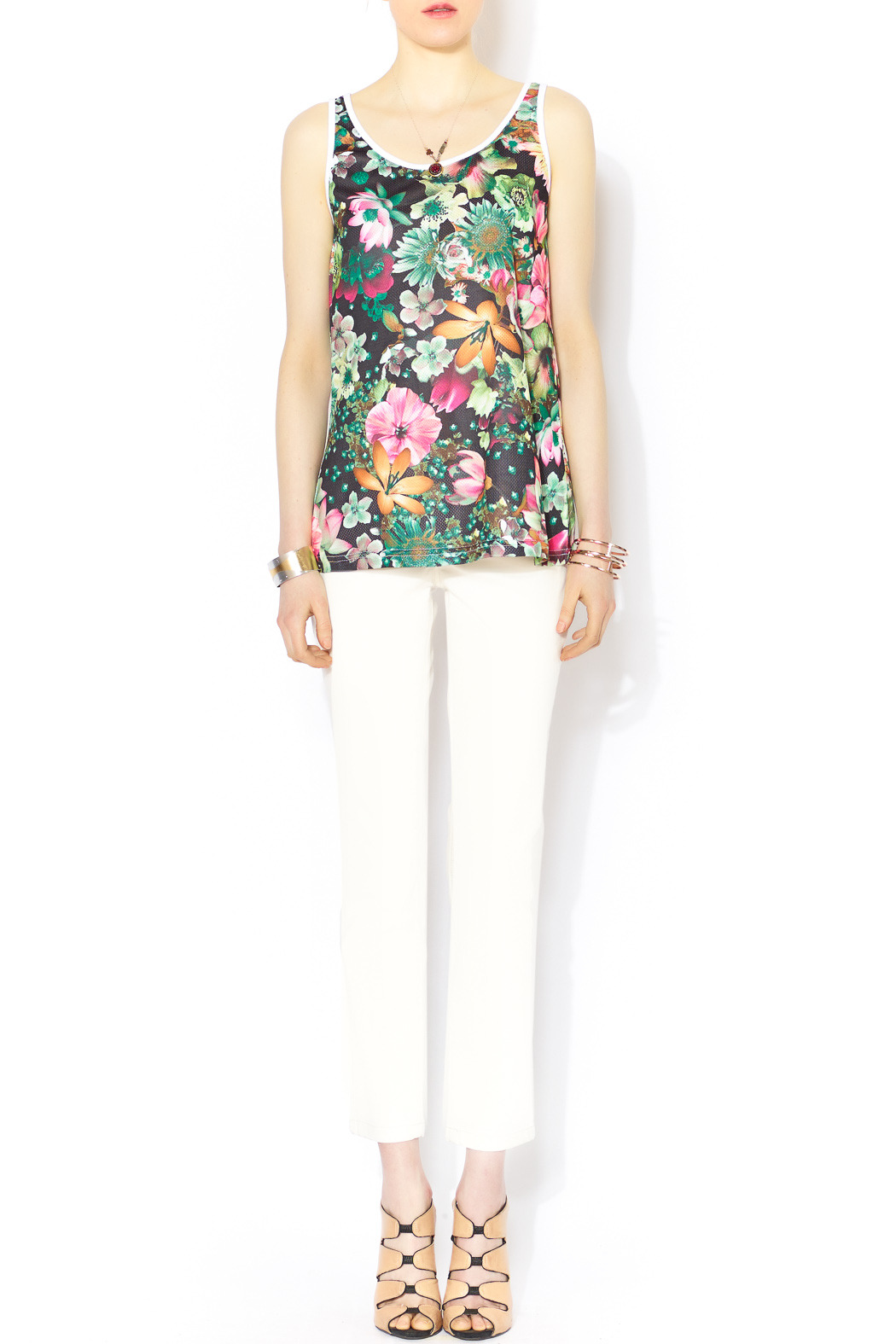 Glamorous Floral Mesh Jersey - Front Full Image