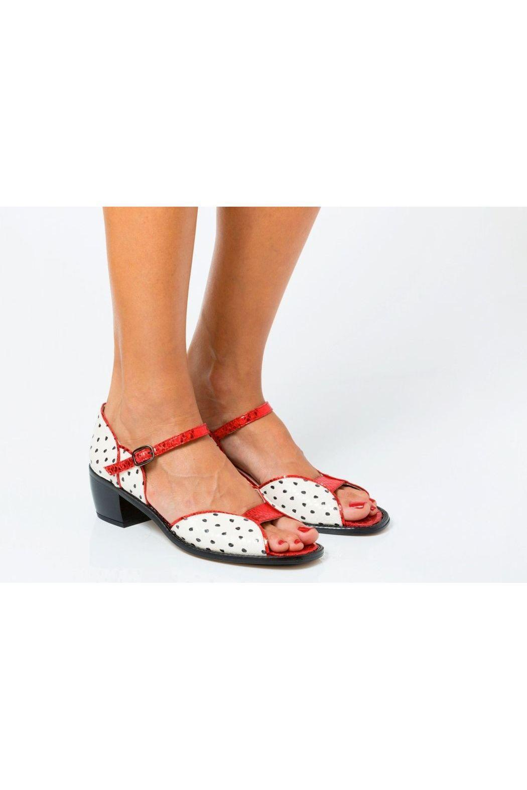 5yMedio Carlota White Black Red Sandals - Front Full Image