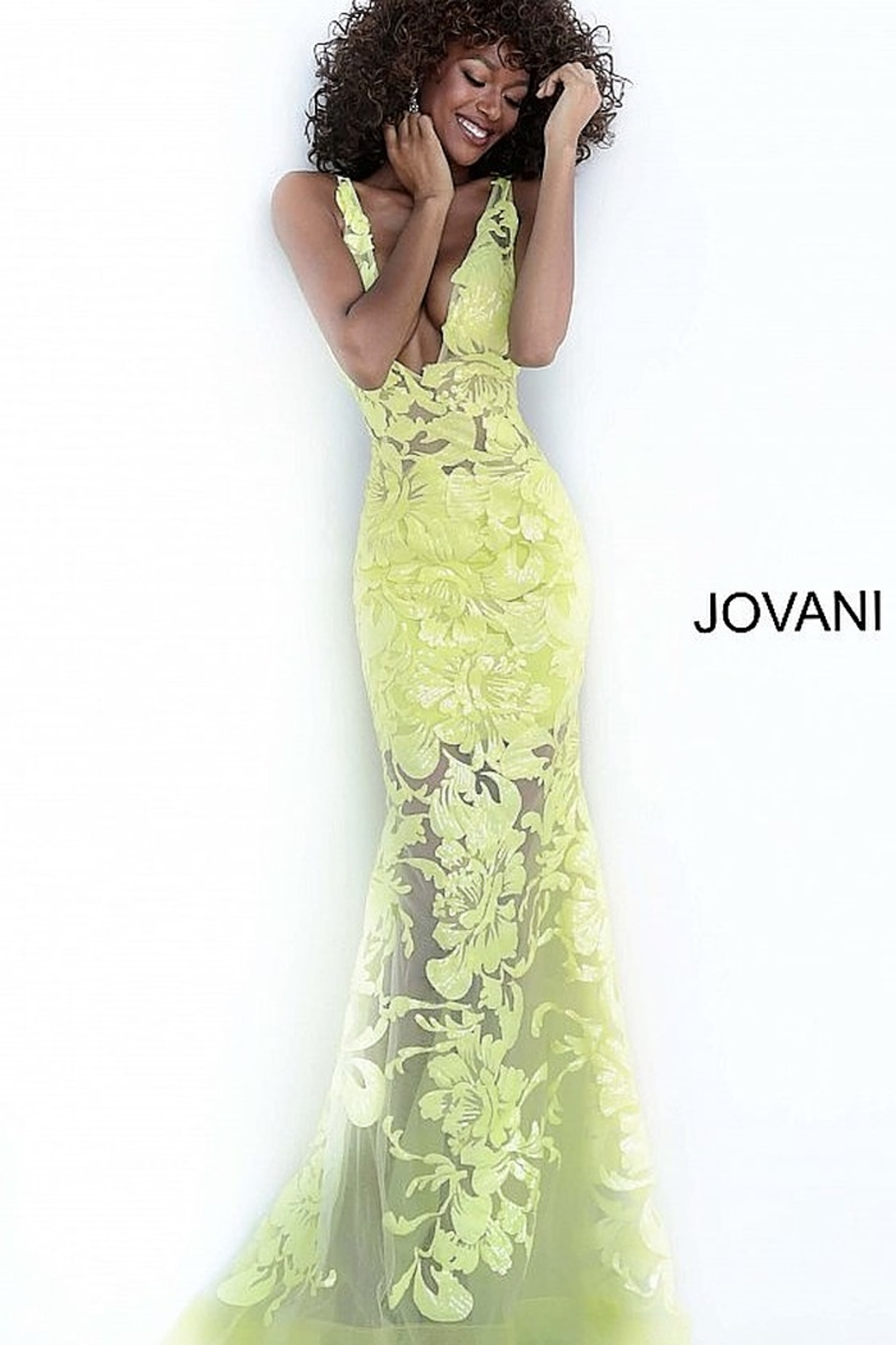 Jovani Fitted V-Neck Gown - Main Image