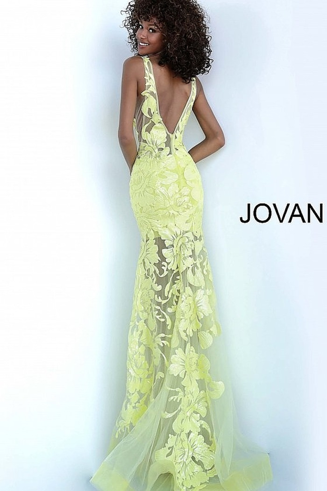 Jovani Fitted V-Neck Gown - Front Full Image