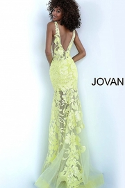 Jovani Fitted V-Neck Gown - Front full body