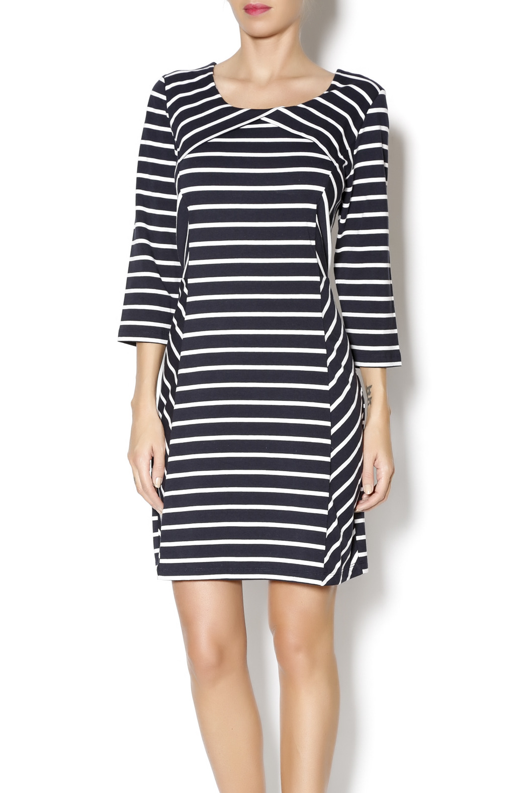 Yest Navy Stripes Dress - Front Cropped Image