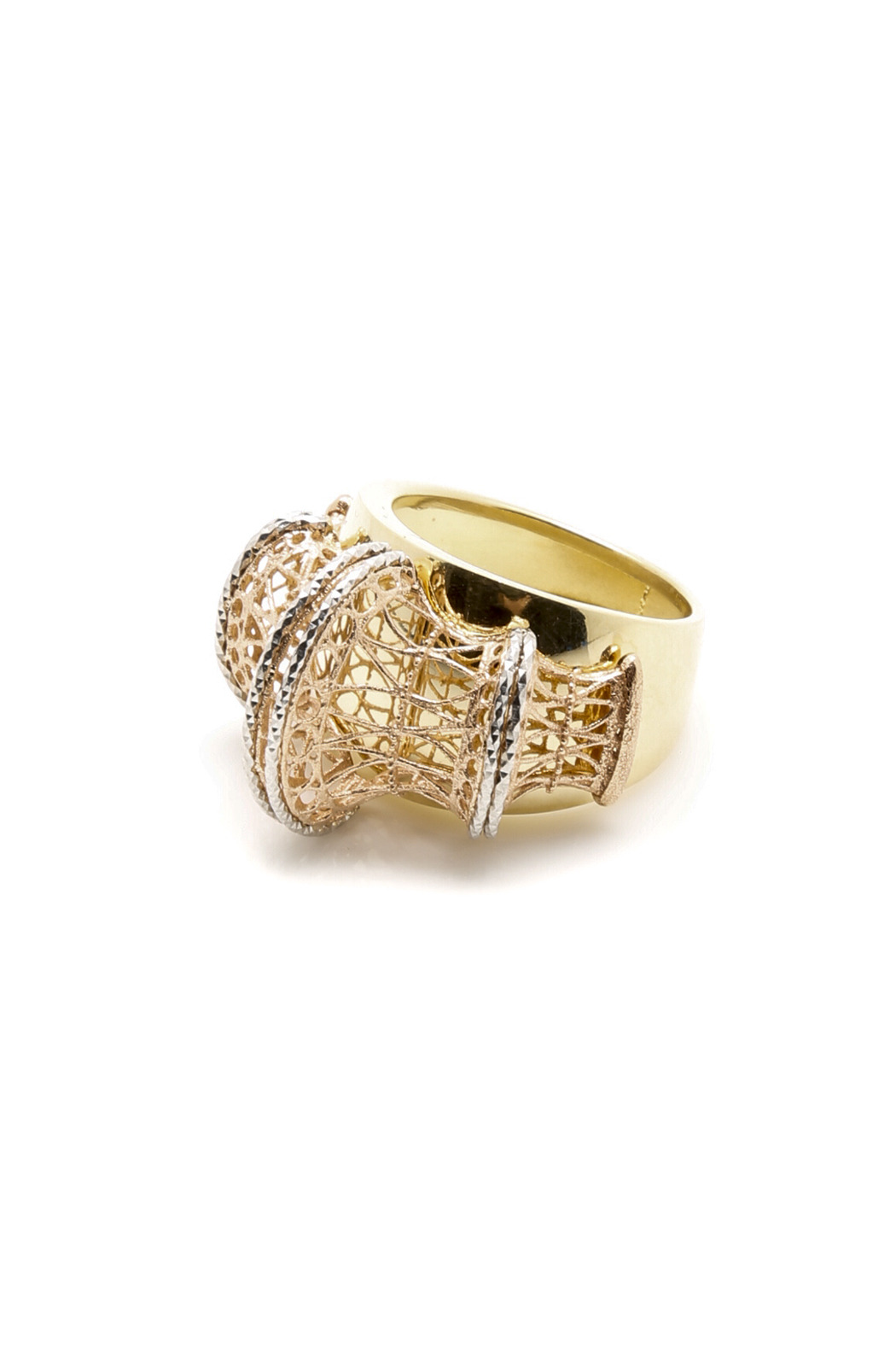 Tiara Fine Jewelry Tri-gold Ring - Front Cropped Image