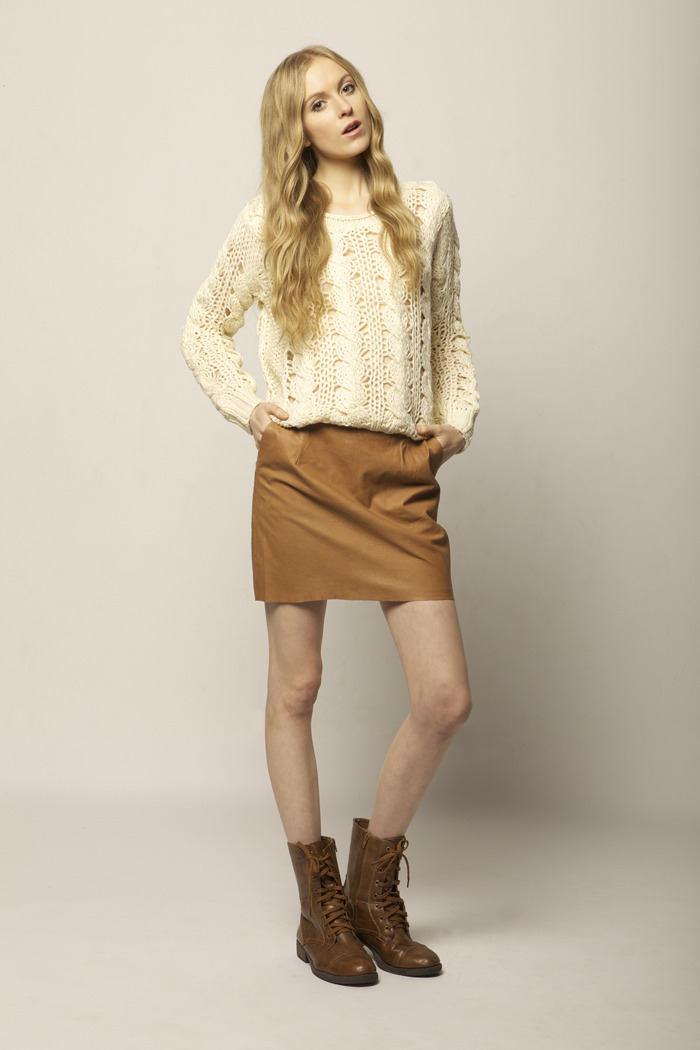 Cream Knit Sweater - Front Full Image