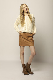 Cream Knit Sweater - Front full body