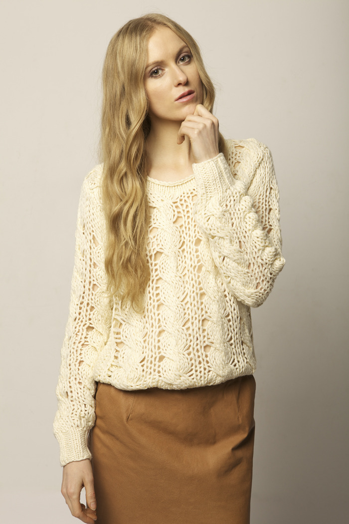 Cream Knit Sweater - Front Cropped Image