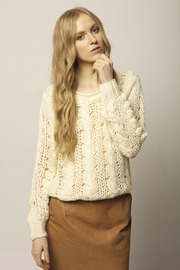 Cream Knit Sweater - Front cropped
