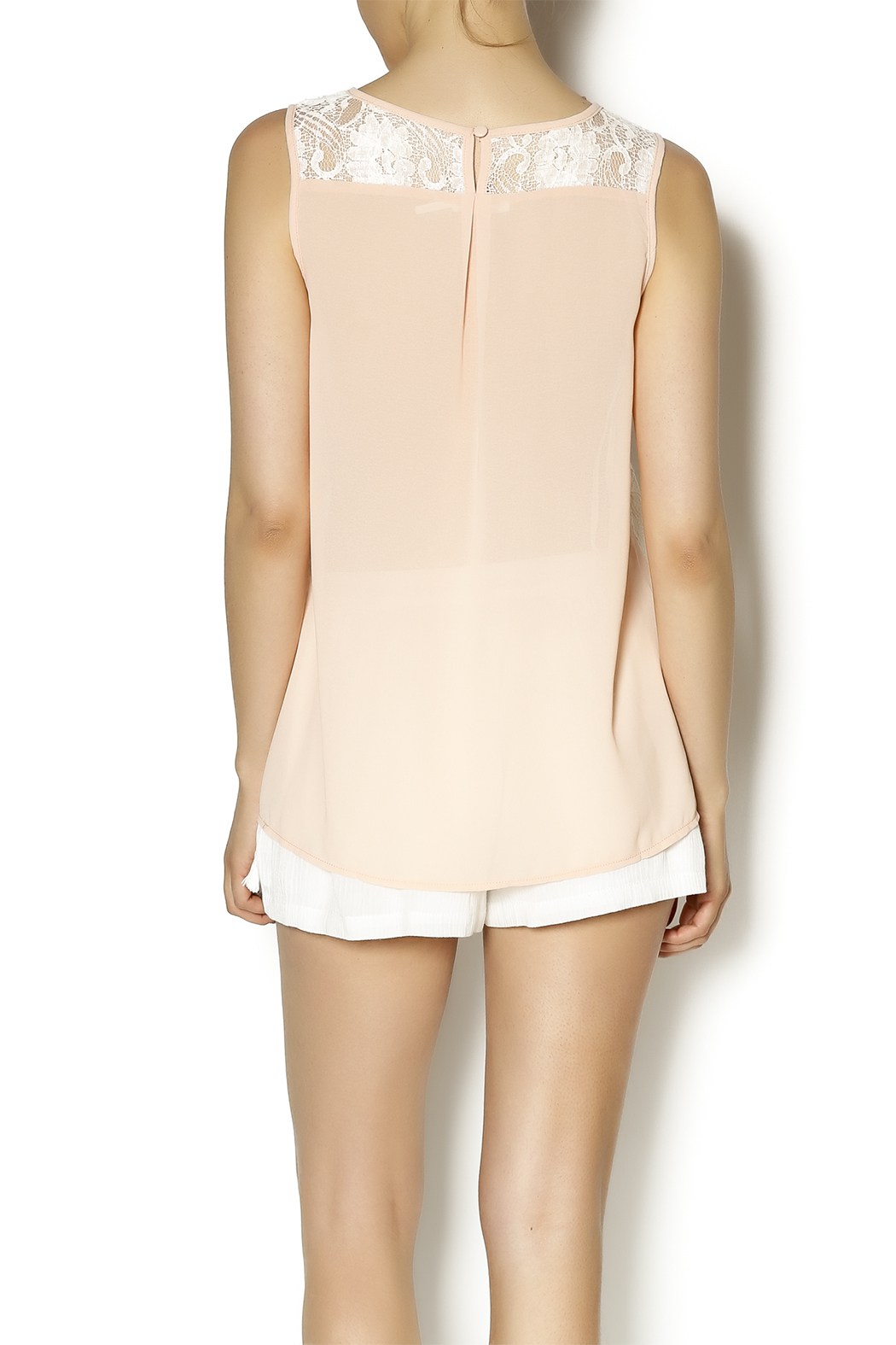 Blu Pepper Peach Embroidered Top - Back Cropped Image