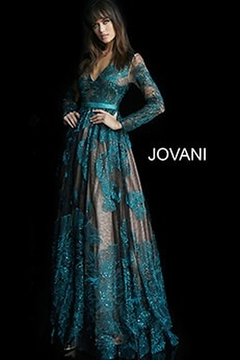 Jovani Sheer Long Sleeve Gown - Product List Image